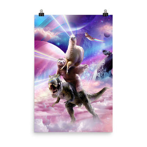 RandomGalaxy 24×36 Laser Eyes Space Llama On Sloth Dinosaur - Rainbow Poster