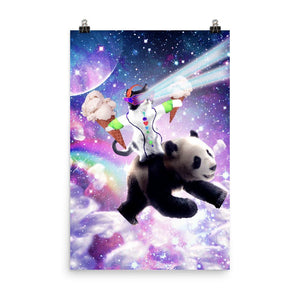 RandomGalaxy 24×36 Lazer Rave Space Cat Riding Panda With Ice Cream Poster