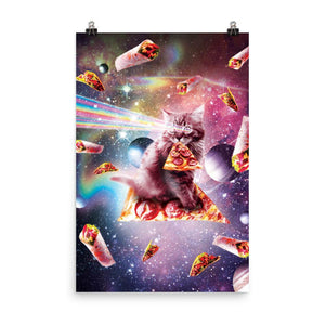 RandomGalaxy 24×36 Outer Space Pizza Cat - Rainbow Laser, Taco, Burrito Poster