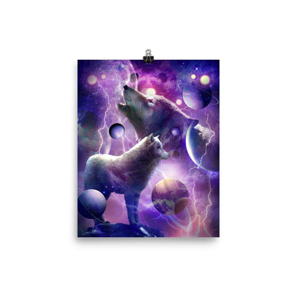 RandomGalaxy 8×10 Cosmic Wolf Howling At Moon In Space Poster
