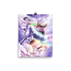 RandomGalaxy 8×10 Epic Space Sloth Riding On Unicorn Poster