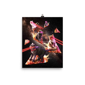 RandomGalaxy 8×10 Galaxy Laser Cat - Space Pizza Cats with Lazer Eyes Poster