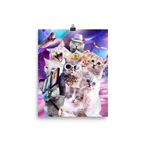 RandomGalaxy 8×10 Kitten Cat Selfie In Space With Unicorn Cat Poster