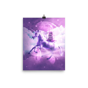RandomGalaxy 8×10 Kitty Cat Riding On Flying Space Galaxy Unicorn Poster
