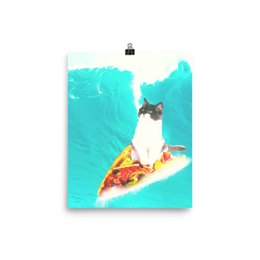 RandomGalaxy 8×10 Kitty Cat Surfing Taco Poster