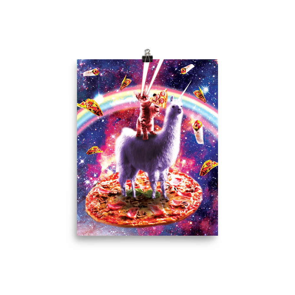 RandomGalaxy 8×10 Laser Eyes Outer Space Cat Riding On Llama Unicorn Poster