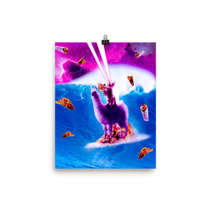 RandomGalaxy 8×10 Laser Eyes Space Cat Riding On Surfing Llama Unicorn Poster