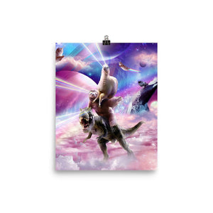 RandomGalaxy 8×10 Laser Eyes Space Llama On Sloth Dinosaur - Rainbow Poster