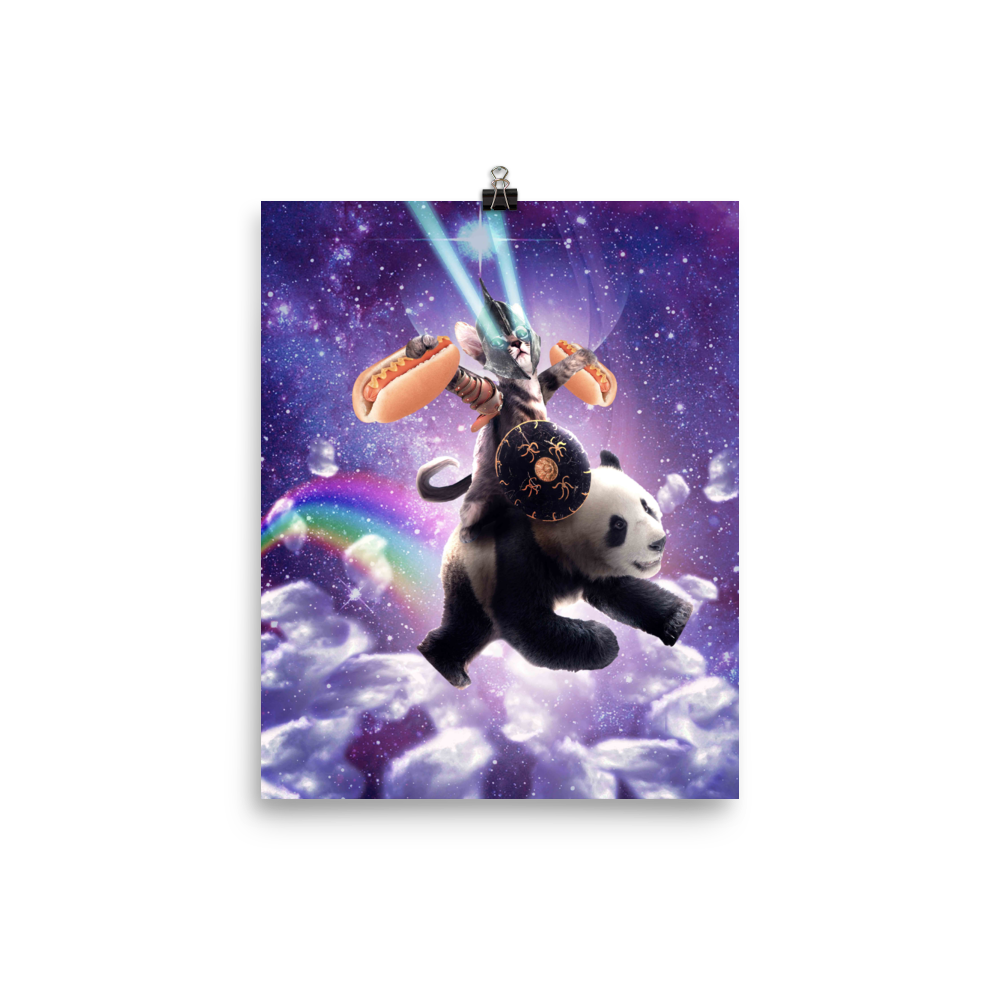 RandomGalaxy 8×10 Lazer Rave Space Cat Riding Panda Eating Hotdog Poster