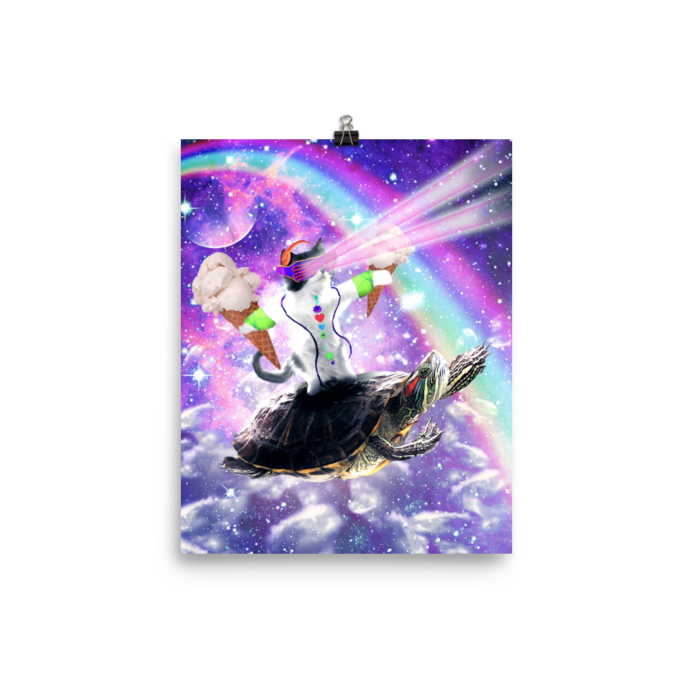 RandomGalaxy 8×10 Lazer Rave Space Cat Riding Turtle Eating Ice Cream Poster