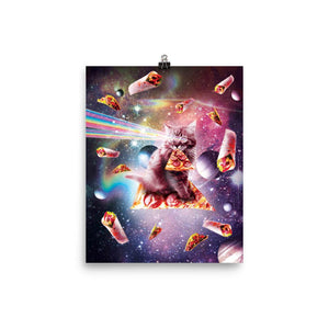RandomGalaxy 8×10 Outer Space Pizza Cat - Rainbow Laser, Taco, Burrito Poster