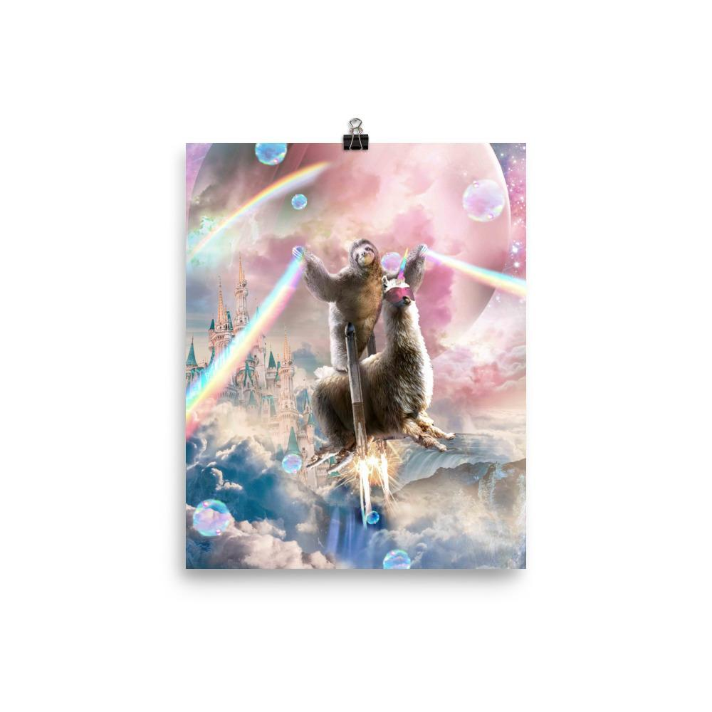 RandomGalaxy 8×10 Rainbow Laser Sloth On Llama Unicorn In Space Poster