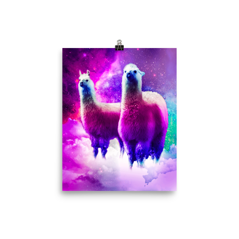 RandomGalaxy 8×10 Rainbow Llama In Space Poster