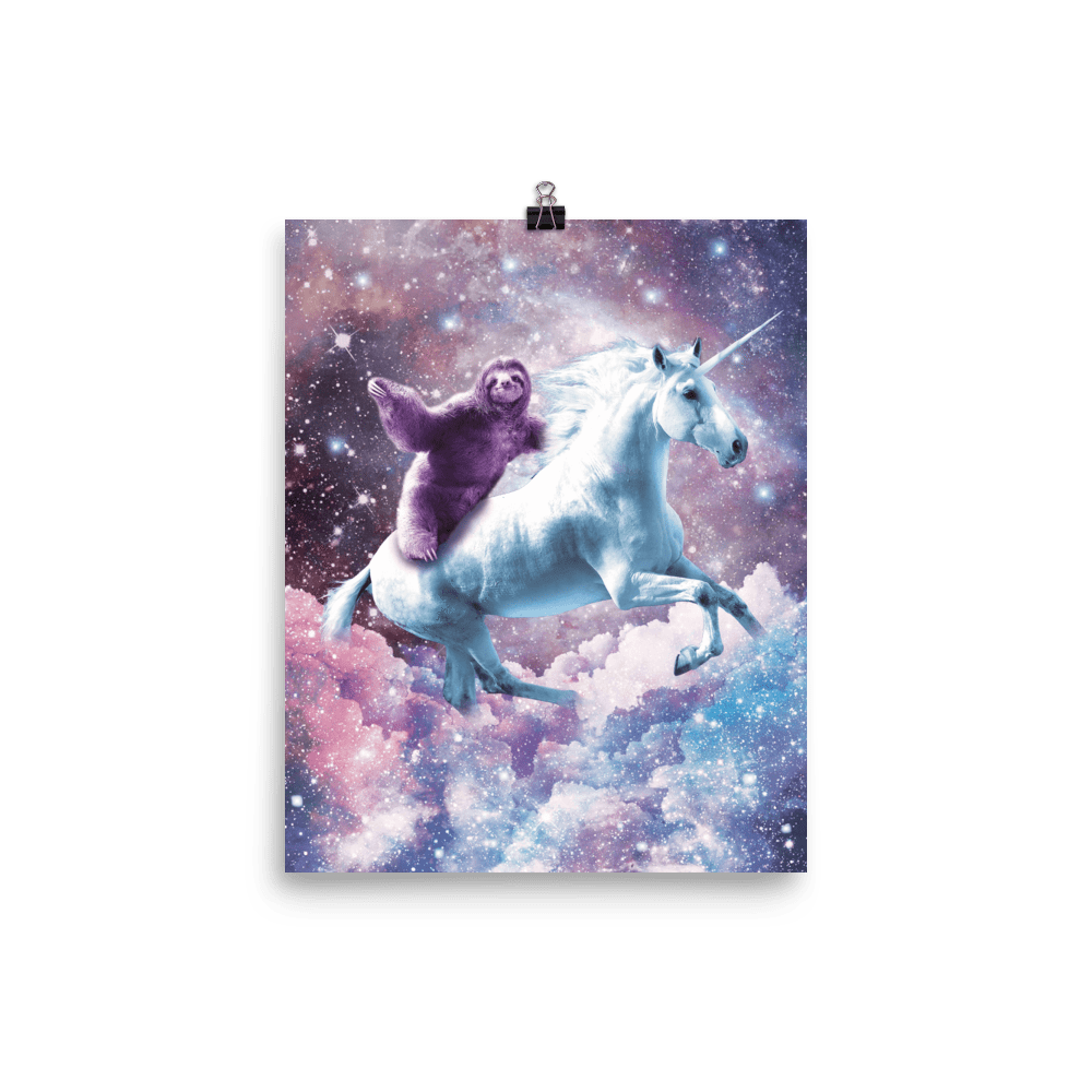 RandomGalaxy 8×10 Space Sloth Riding On Unicorn Poster