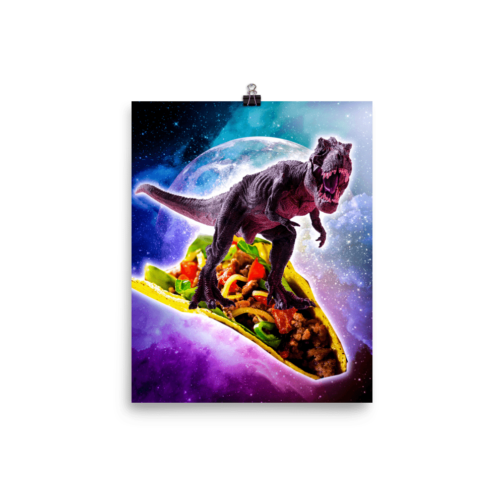 RandomGalaxy 8×10 Tyrannosaurus Rex Dinosaur Riding Taco In Space Poster