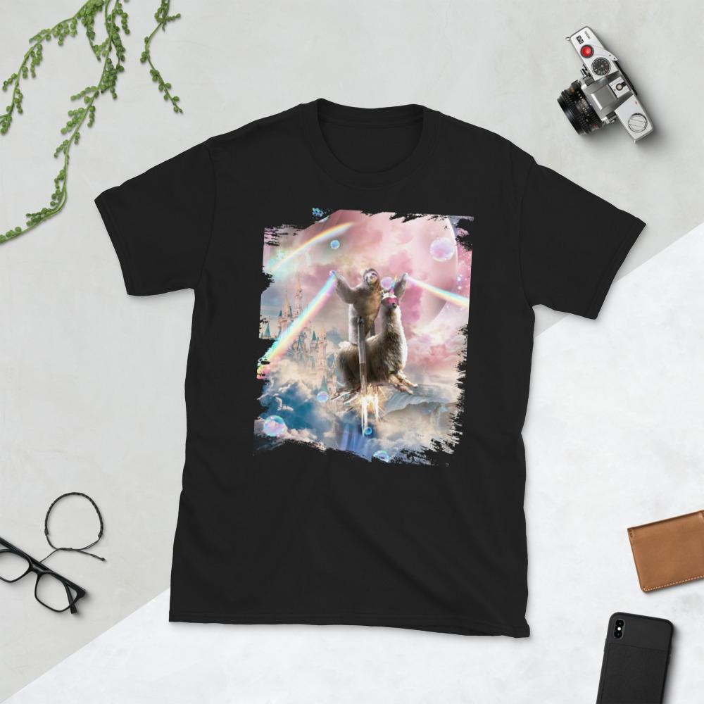 RandomGalaxy Black / S Rainbow Laser Sloth On Llama Unicorn In Space Short-Sleeve Unisex T-Shirt