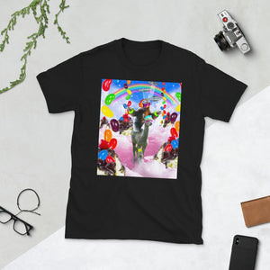 RandomGalaxy Black / S Sloth Riding Alpaca With Sundae Short-Sleeve Unisex T-Shirt