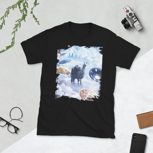 RandomGalaxy Black / S Space Panda Riding Llama Unicorn - Pizza & Taco Short-Sleeve Unisex T-Shirt