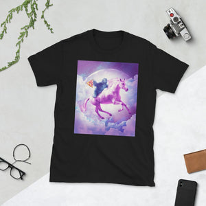 RandomGalaxy Black / S Space Sloth Riding On Flying Unicorn With Pizza Short-Sleeve Unisex T-Shirt