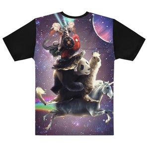 RandomGalaxy Cat Riding Chicken Turtle Panda Llama Unicorn T-shirt
