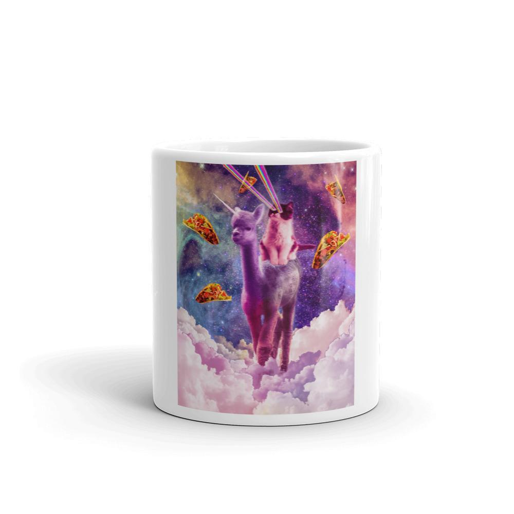 Cosmic Cat Riding Alpaca Unicorn Mug