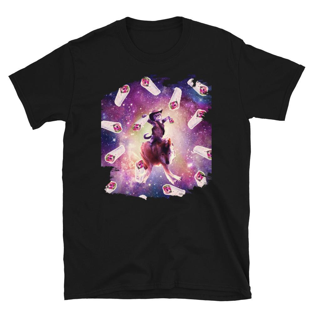 RandomGalaxy Cowboy Space Cat On Wolf Unicorn - Burrito Short-Sleeve Unisex T-Shirt