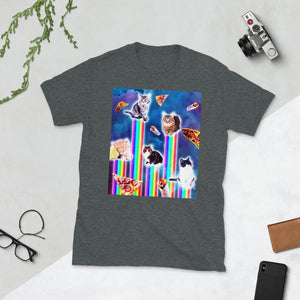 RandomGalaxy Dark Heather / S Outer Space Galaxy Cats With Rainbow Short-Sleeve Unisex T-Shirt