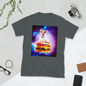 RandomGalaxy Dark Heather / S Outer Space Galaxy Dog Riding Burger Short-Sleeve Unisex T-Shirt