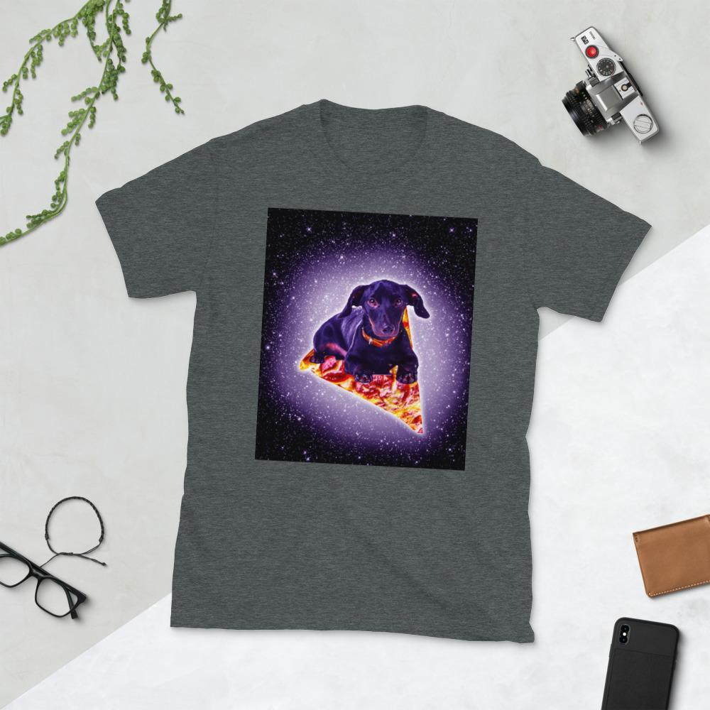 RandomGalaxy Dark Heather / S Outer Space Galaxy Dog Riding Pizza Short-Sleeve Unisex T-Shirt