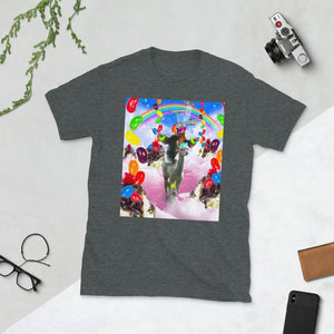 RandomGalaxy Dark Heather / S Sloth Riding Alpaca With Sundae Short-Sleeve Unisex T-Shirt