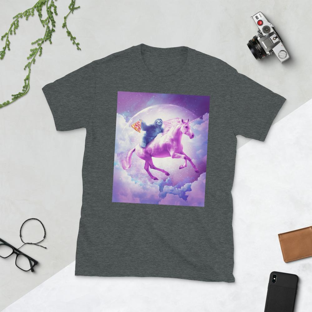 RandomGalaxy Dark Heather / S Space Sloth Riding On Flying Unicorn With Pizza Short-Sleeve Unisex T-Shirt