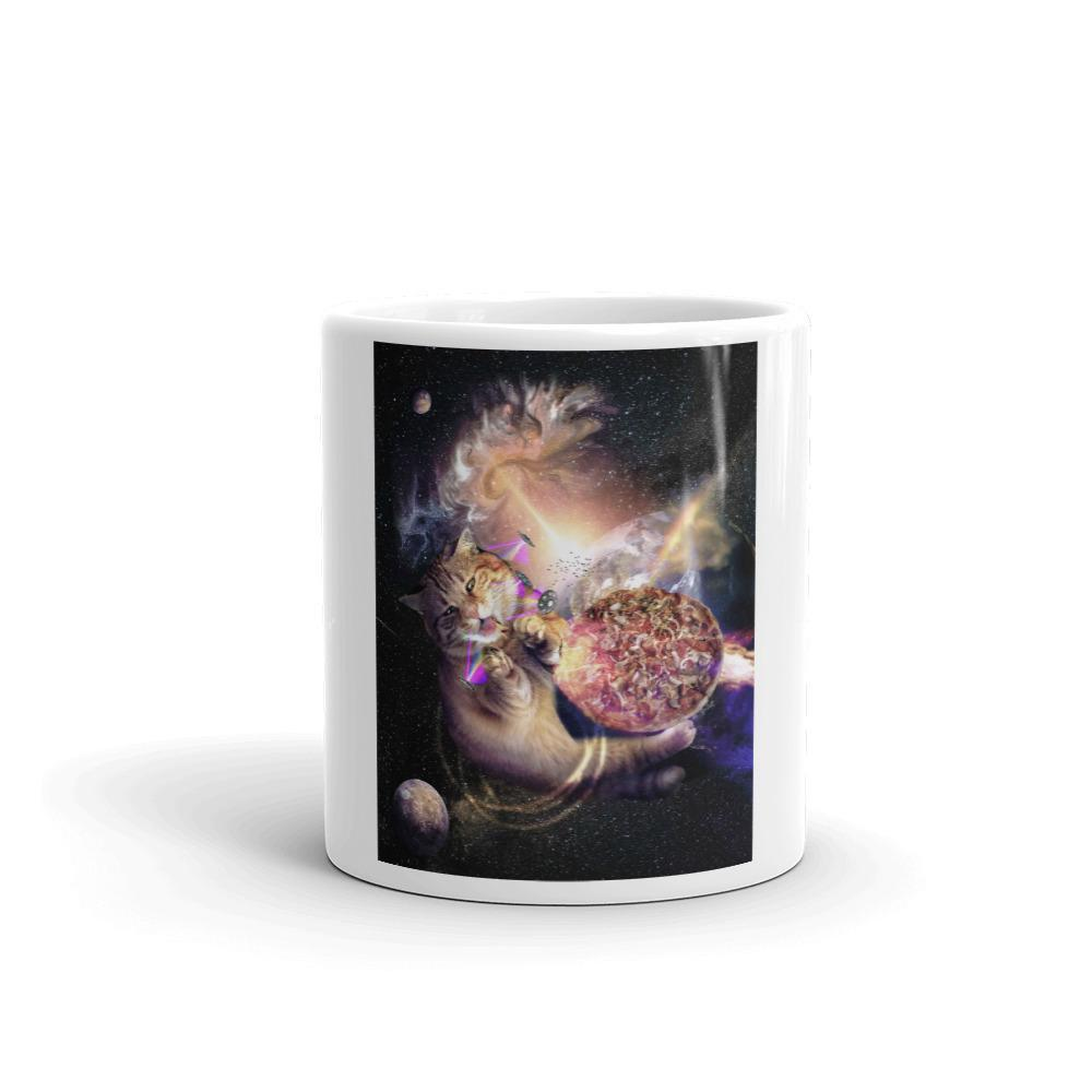 RandomGalaxy Galaxy Space Cat Reaching Pizza With Laser Mug
