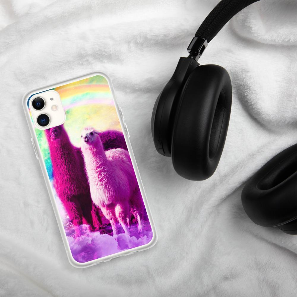 RandomGalaxy iPhone 11 Crazy Funny Rainbow Llama In Space iPhone Case