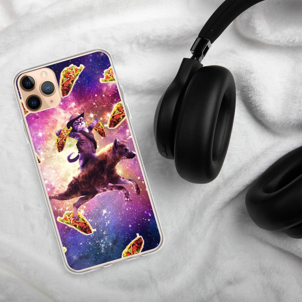RandomGalaxy iPhone 11 Pro Max Cowboy Space Cat On Hyena Unicorn - Taco iPhone Case