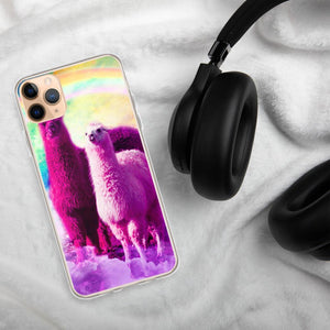 RandomGalaxy iPhone 11 Pro Max Crazy Funny Rainbow Llama In Space iPhone Case