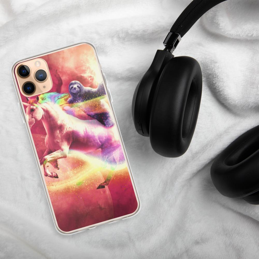 RandomGalaxy iPhone 11 Pro Max Epic Space Sloth Riding On Unicorn iPhone Case