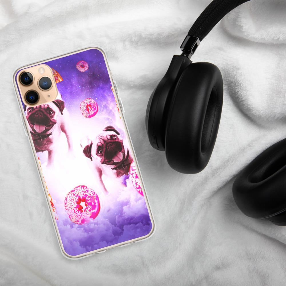 RandomGalaxy iPhone 11 Pro Max Pugs In The Clouds With Doughnut And Pizza iPhone Case