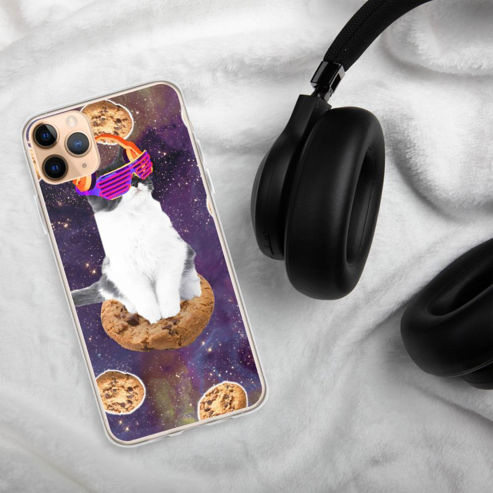 RandomGalaxy iPhone 11 Pro Max Rave Kitty Cat On Choc Cookie In Space iPhone Case