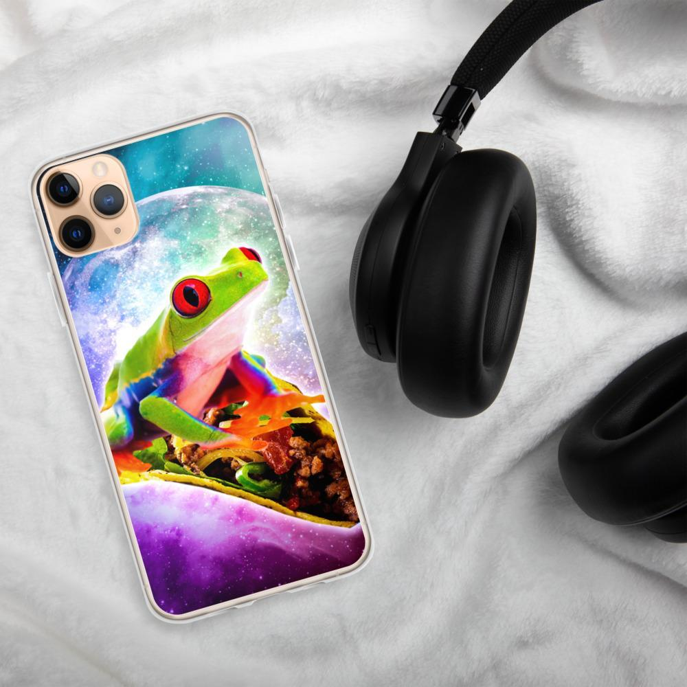 RandomGalaxy iPhone 11 Pro Max Red Tree Frog Riding Taco In Space iPhone Case