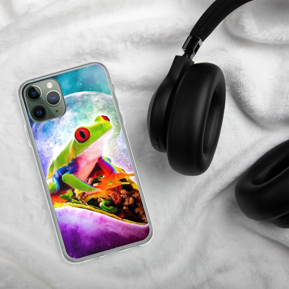 RandomGalaxy iPhone 11 Pro Red Tree Frog Riding Taco In Space iPhone Case