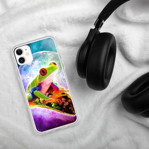 RandomGalaxy iPhone 11 Red Tree Frog Riding Taco In Space iPhone Case
