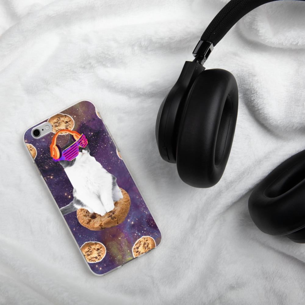 RandomGalaxy iPhone 6/6s Rave Kitty Cat On Choc Cookie In Space iPhone Case