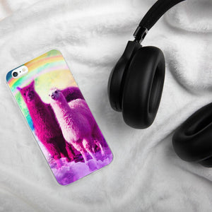 RandomGalaxy iPhone 6 Plus/6s Plus Crazy Funny Rainbow Llama In Space iPhone Case