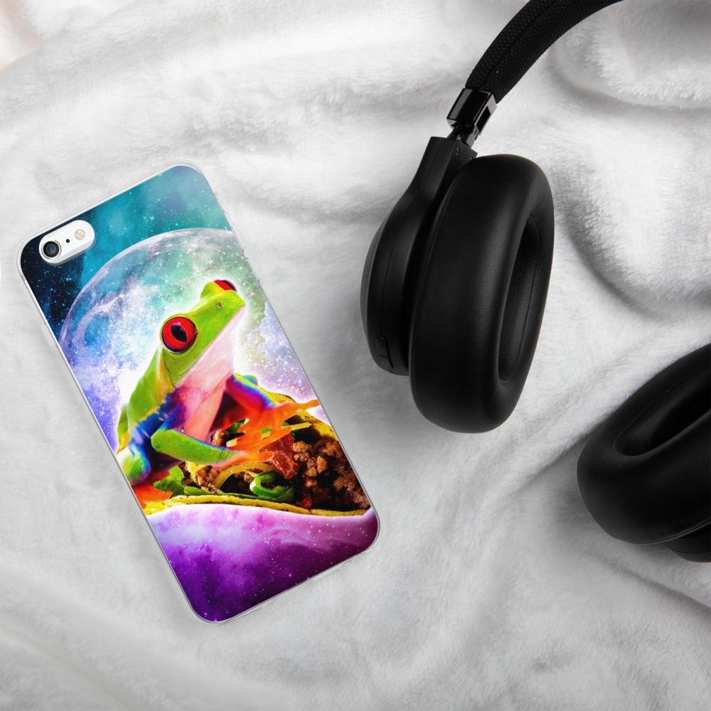 RandomGalaxy iPhone 6 Plus/6s Plus Red Tree Frog Riding Taco In Space iPhone Case