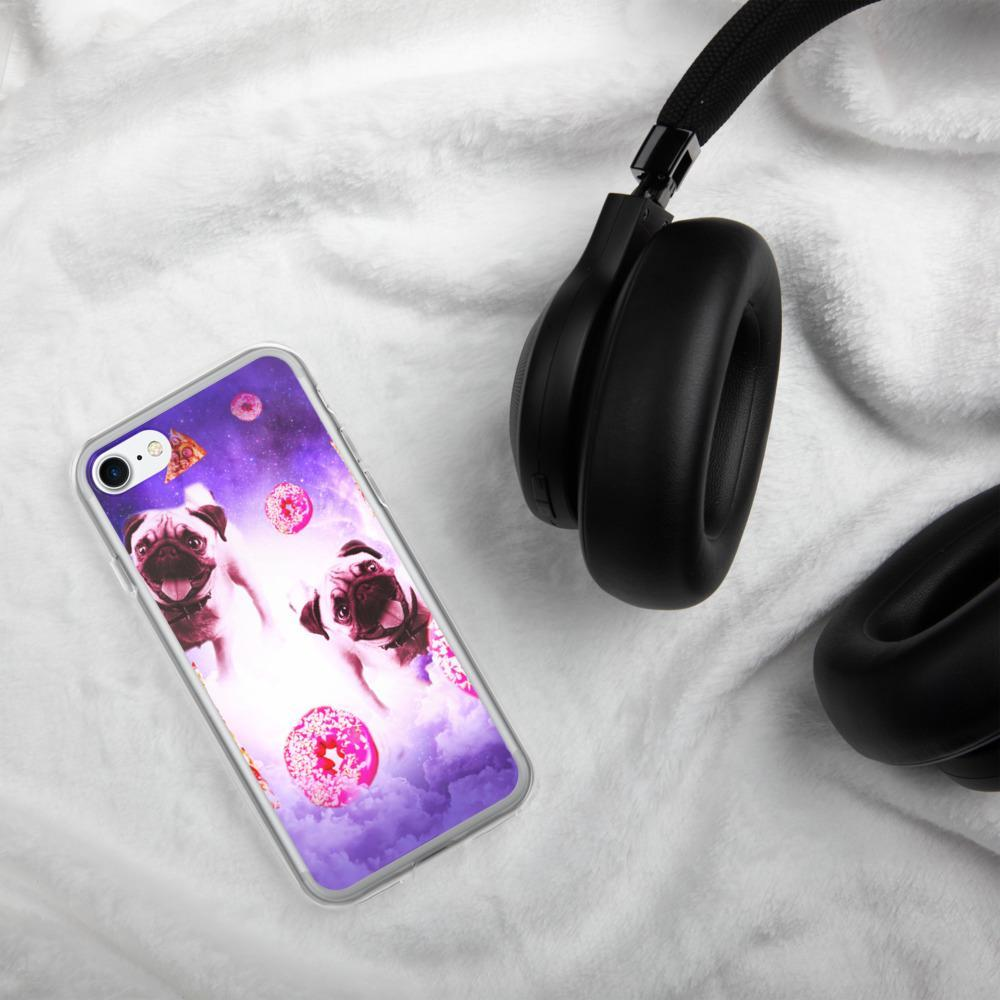 RandomGalaxy iPhone 7/8 Pugs In The Clouds With Doughnut And Pizza iPhone Case
