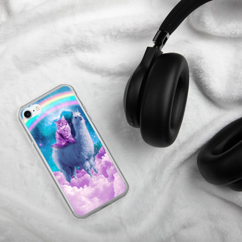 RandomGalaxy iPhone 7/8 Rainbow Llama - Cat Llama iPhone Case
