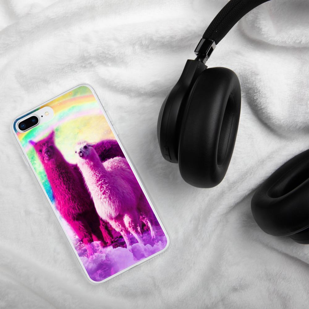 RandomGalaxy iPhone 7 Plus/8 Plus Crazy Funny Rainbow Llama In Space iPhone Case