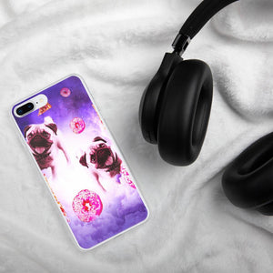 RandomGalaxy iPhone 7 Plus/8 Plus Pugs In The Clouds With Doughnut And Pizza iPhone Case