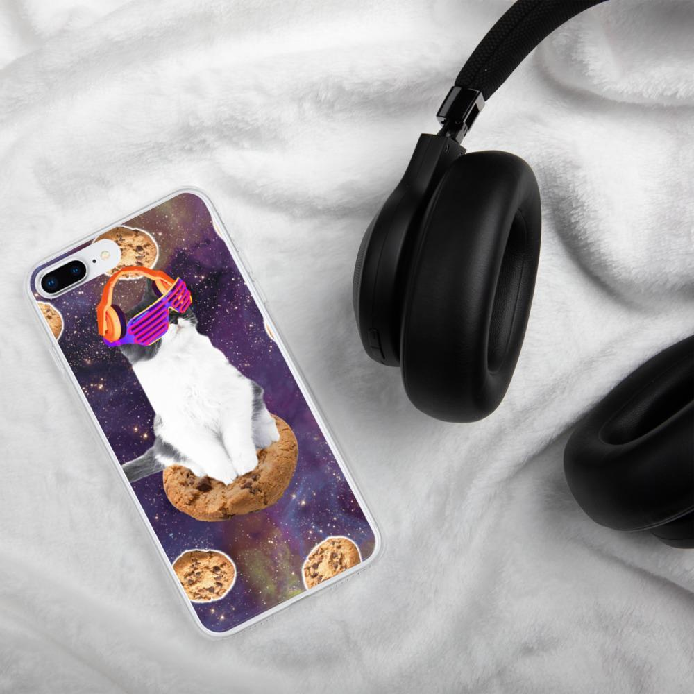 RandomGalaxy iPhone 7 Plus/8 Plus Rave Kitty Cat On Choc Cookie In Space iPhone Case