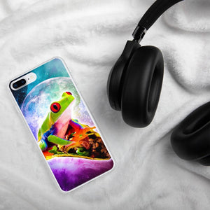 RandomGalaxy iPhone 7 Plus/8 Plus Red Tree Frog Riding Taco In Space iPhone Case